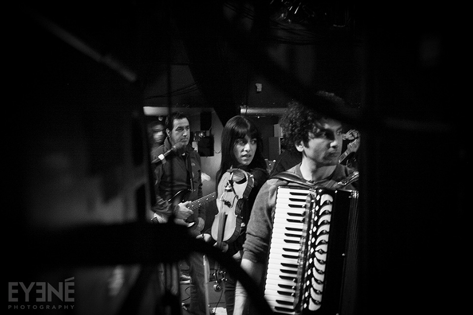 Members of the band Kiosk waiting to go on stage at Mod Club. Toronto, Canada. Photo: Saman Aghvami/ EYENÉ